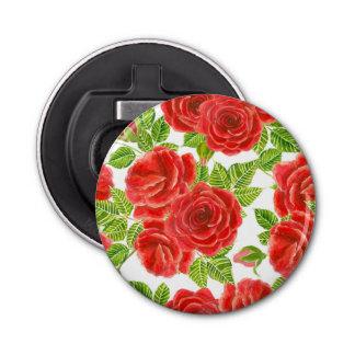 Nahtloses Muster Rote Rosen Watercolor Flaschenöffner