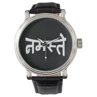 Namaste (नमस्ते) - Devanagari Skript Uhr