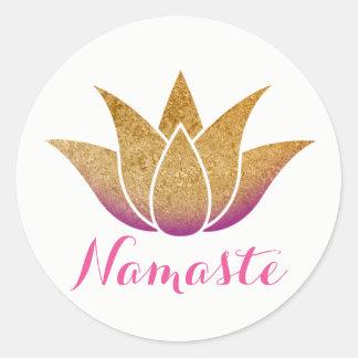 Namaste GoldGlitter-Lotos-Blumen-Yoga Runder Aufkleber
