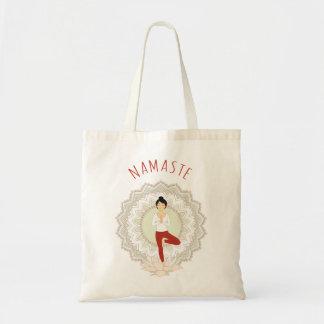 Namaste in der Baum-Pose - Yoga Asana Budget Stoffbeutel
