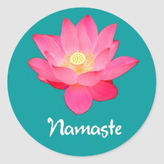 Namaste Lotos-Blumen-Entwurfsgeschenke Runder Aufkleber