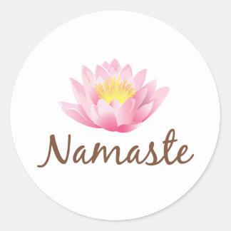Namaste Lotos-Blumen-Yoga Runder Aufkleber