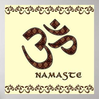 Namaste mit OM-Symbol Brown und Creme Poster