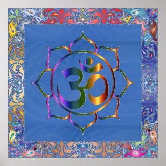 Namaste Om OM u. Lotos mit Regenbogen-Vintager Poster
