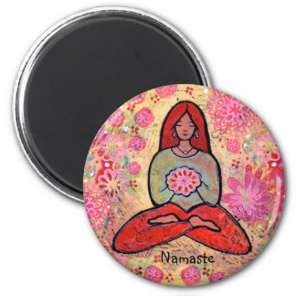 Namaste rotes behaartes Yoga-Mädchen Runder Magnet 5,1 Cm