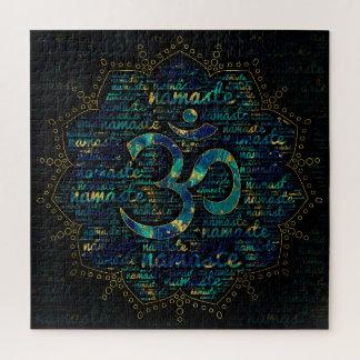 Namaste Wort-Kunst in Lotus mit OM-Symbol Puzzle