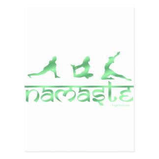 Namaste Yoga-Posegrün Postkarte