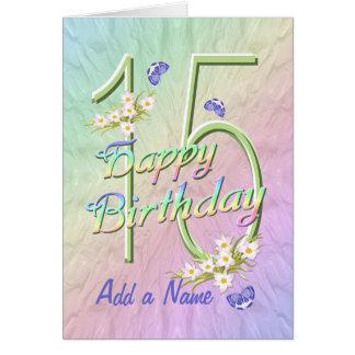 Name-15. Geburtstags-Schmetterlings-Garten-Karte Karte