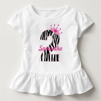 Name-2. GeburtstagZebraprinzessin Kleinkind T-shirt