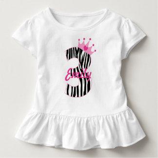 Name-3. GeburtstagZebraprinzessin Kleinkind T-shirt