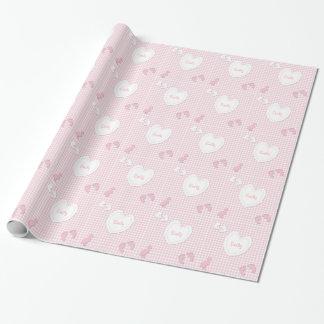 Name-Baby-Mädchen-Herz-Gingham-Papier Geschenkpapier