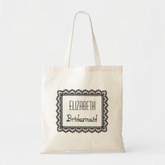Name-Brautjungfern-Tasche mit schwarzer Spitze Budget Stoffbeutel