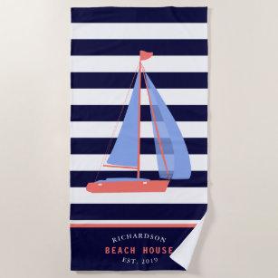 Name der Schiffsfamilie Strived Navy Blue Strandtuch