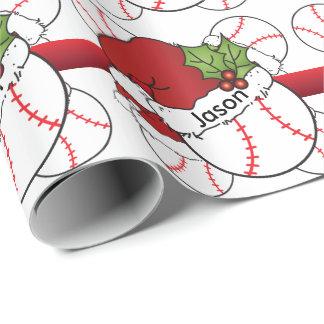 Name des Weihnachtsmannmütze-Weihnachtsbaseball-  Geschenkpapier