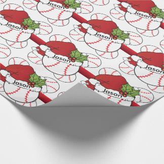 Name des Weihnachtsmannmütze-Weihnachtsbaseball-| Geschenkpapier