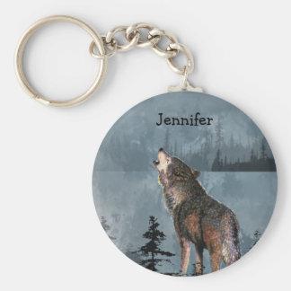 Name-einsamer Wolf, der über See heult Standard Runder Schlüsselanhänger