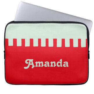 Name-einzigartiges rotes Muster Laptopschutzhülle