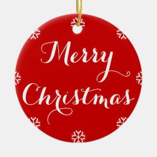 Name-eleganter frohe Weihnacht-roter weißer Schnee Rundes Keramik Ornament