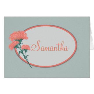 Name-Geburtstags-Karte, rosa Gartennelken Karte