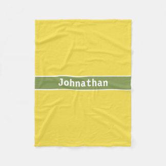 Name-gelbe und grüne Fleece-Decke Fleecedecke