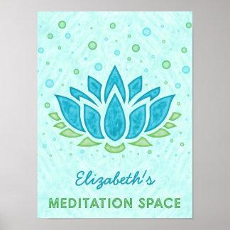 Name Meditations-Raum-blauer Lotos-Blumezen-| Poster