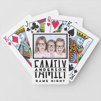Name-moderne weiße Spiel-Nacht des Familien-Foto-| Bicycle Spielkarten