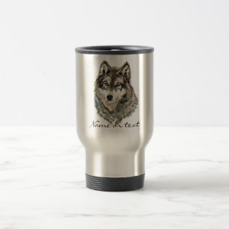 Name-oder Text-Wolf Watercolor Tier Reisebecher