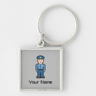 Name-Polizist Silberfarbener Quadratischer Schlüsselanhänger