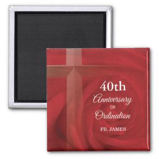 Name-Priester-Jahrestags-Klassifikations-Rote Rose Quadratischer Magnet