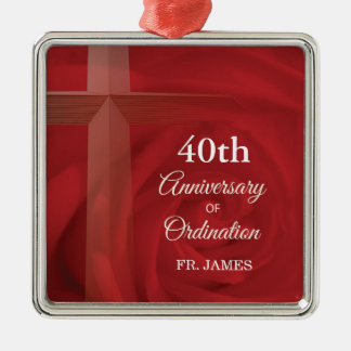 Name-Priester-Jahrestags-Klassifikations-Rote Rose Silbernes Ornament