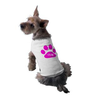 Name-rosa und weiße Hundeneontatze Top