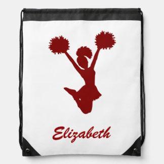Name-roter weißer Cheerleader-Beifall Turnbeutel