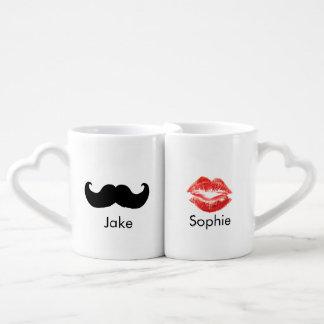 Name-Schnurrbart- und LippenTassenpaare Partnertassen