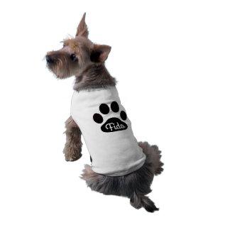 Name-Schwarzweiss-Hundetatze Shirt