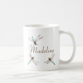 Name und aquamarine blaue Libellen Kaffeetasse