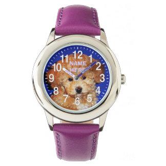 NAME und IHRE FOTO niedlichen Welpen-Uhren für Uhren