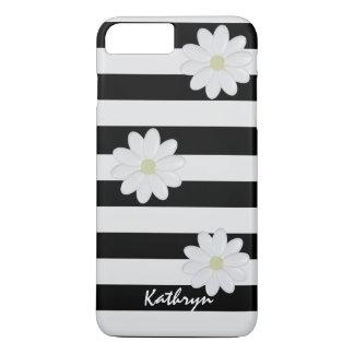 Name-weiße Blumen Striped iPhone 8 Plus/7 Plus Hülle