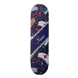 Namemarineblau-Glitterkrankenschwester-Hutherz Individuelle Skateboarddecks