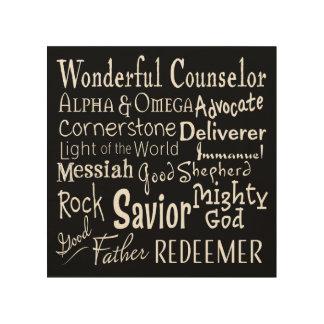 Namen des Gottes von der Bibel auf Schwarzem Holzleinwand