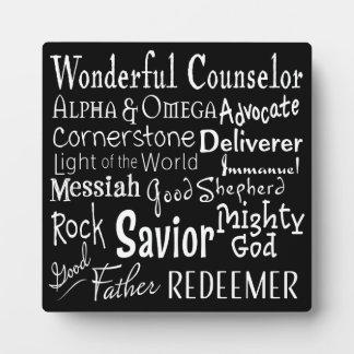 Namen des Gottes von der Bibel in Schwarzweiss Fotoplatte