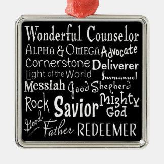 Namen des Gottes von der Bibel in Schwarzweiss Silbernes Ornament