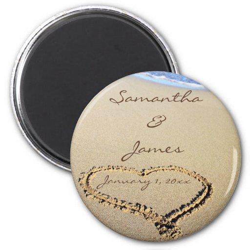 Namen im Sand-persönlichen runden Hochzeits-Magnet Kühlschrankmagnet