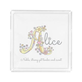 Namen- und Bedeutungskunstbehälter Alices A Acryl Tablett