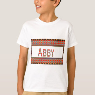 Namens-TEXT: ABBY elegante rote Goldgrenze BILLIG T-Shirt