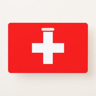 NamensAbzeichen mit Flagge von der Schweiz Ausweis
