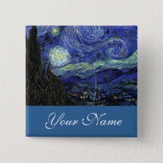NamensButton, Vincent van Gogh, Starry Nacht Quadratischer Button 5,1 Cm