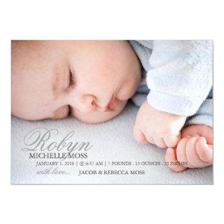 NamensFoto der Foto-Geburts-Mitteilungs-| 12,7 X 17,8 Cm Einladungskarte