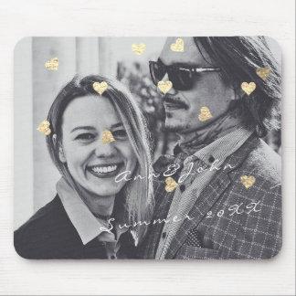 Namenspaar-Foto-Reise-Geschenkconfetti-Herz-Gold Mauspads