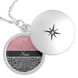 Namenspastellrosa-Glitterschwarzleopard Halsketten