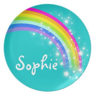 Namensregenbogenaqua Sophie Mädchen-Kinderplatte Party Teller